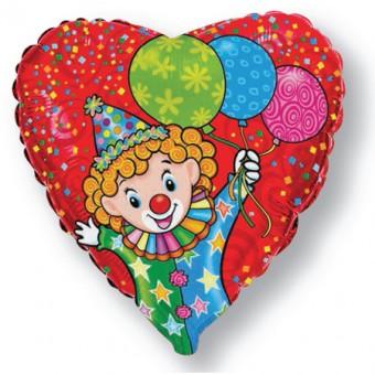Шар - Сердце, Счастливый клоун, Красный Все для детского праздника - Усатый Масич