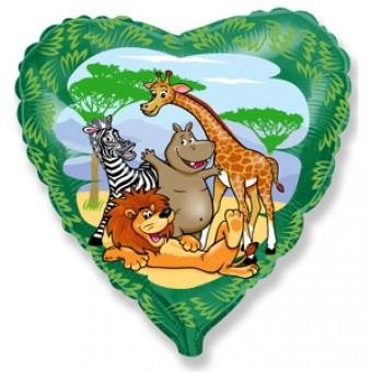 Шар-сердце, Друзья в джунглях, Зеленый Все для детского праздника - Усатый Масич