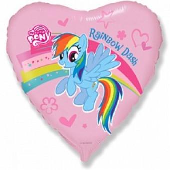 Шар - Сердце, Пони Радуга, Розовый Все для детского праздника - Усатый Масич