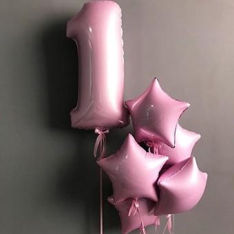 Фонтан из шаров 1 год розовый