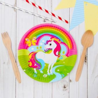Тарелка бумажная Единорог Все для детского праздника - Усатый Масич