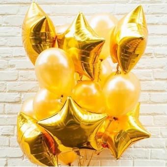 Фонтан из шаров золото