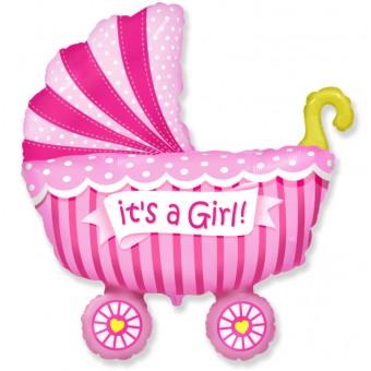 Шар-фигура,Коляска,розовый Все для детского праздника - Усатый Масич
