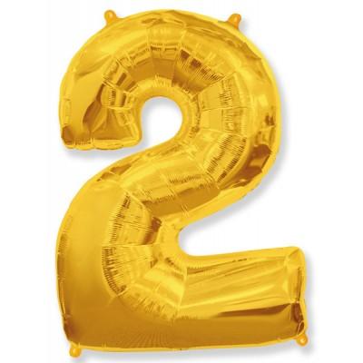 """Шар-цифра,Золото, """"2"""""""