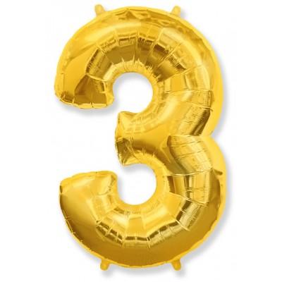 """Шар-цифра,Золото, """"3"""""""