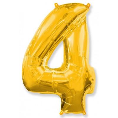 """Шар-цифра,Золото, """"4"""""""