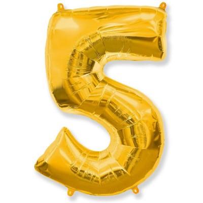 """Шар-цифра,Золото, """"5"""""""