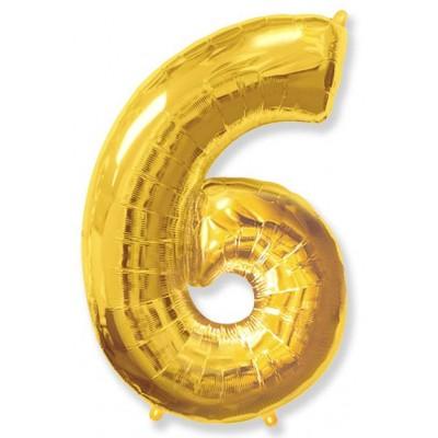"""Шар-цифра,Золото, """"6"""""""