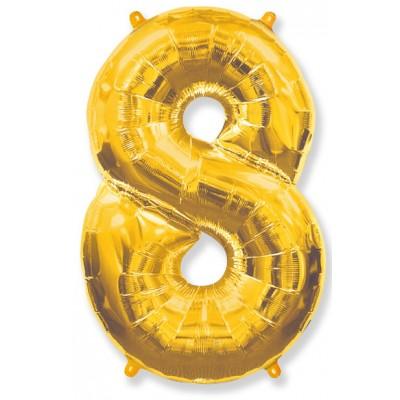 """Шар-цифра,Золото, """"8"""""""