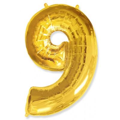 """Шар-цифра,Золото, """"9"""""""