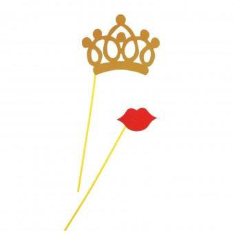 Аксессуар для фотосессии, фотобутафория Корона и губы Все для детского праздника - Усатый Масич