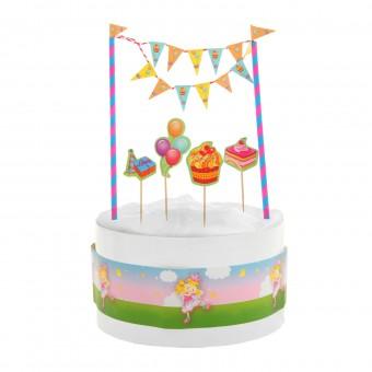 """Набор """"Веселый праздник"""", 1 гирлянда. 3 пики, 1 лента для торта"""