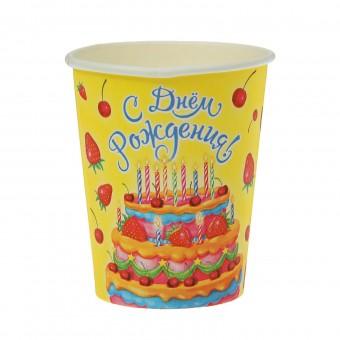 Стакан бумажный Торт с клубникой Все для детского праздника - Усатый Масич