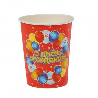 Стакан бумажный С днем рождения шарики Все для детского праздника - Усатый Масич