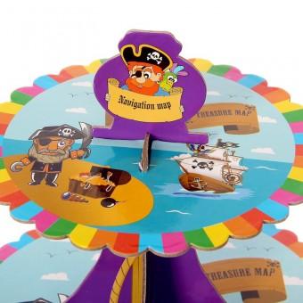 Подставка для пирожных трехъярусная Пират Все для детского праздника - Усатый Масич