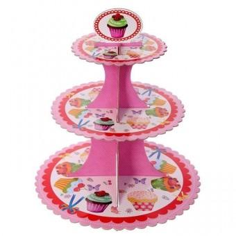 Подставка для пирожных трехъярусная Сладость Все для детского праздника - Усатый Масич