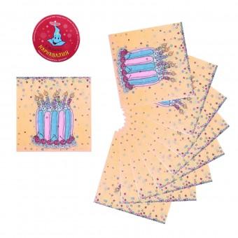 Салфетки бумажные Торт разноцветный Все для детского праздника - Усатый Масич