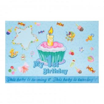 """Плакат с поздравлениями """"Первый день рождения!"""" мальчик"""