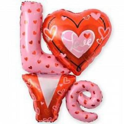 "Шар - Фигура, Надпись ""LOVE"" с сердечками"