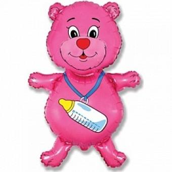 Шар - Фигура, Медвежонок-девочка, Розовый Все для детского праздника - Усатый Масич