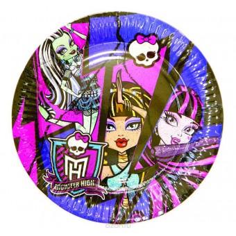 Тарелки большие Monster High Все для детского праздника - Усатый Масич