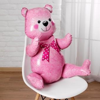 Шар - Фигура, Сидячий мишка, Розовый